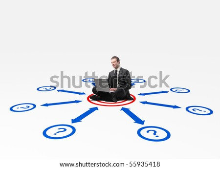 man with laptop sit on 3d connection draw