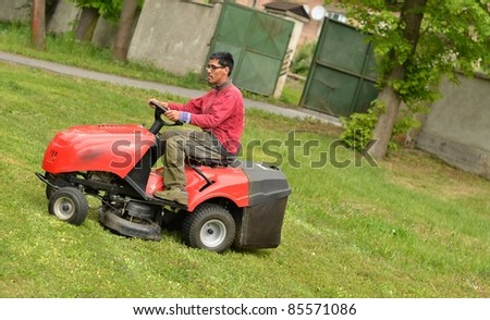 man with lawn mower #85571086
