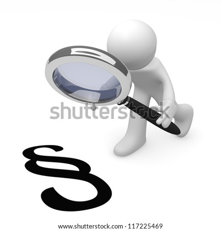Man with magnifying glass and red information icon - stock photo