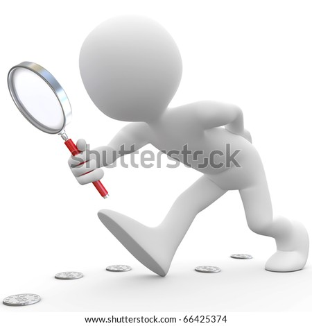 Man with magnifying glass looking for coins - stock photo