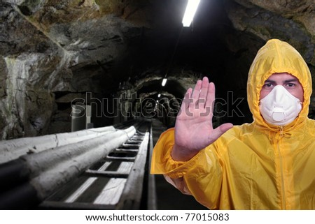 man with mask in a tunnel