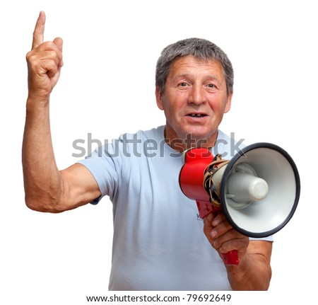 Man with megaphone saying about something important.  Isolated on white - stock photo