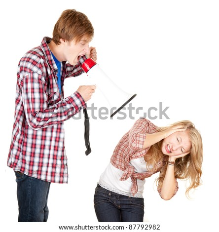 man with megaphone screaming on his girlfriend