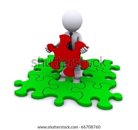 Man with missing piece of puzzle. Isolated.