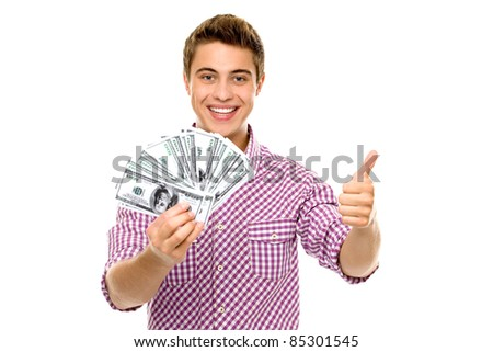Man with money showing thumbs up