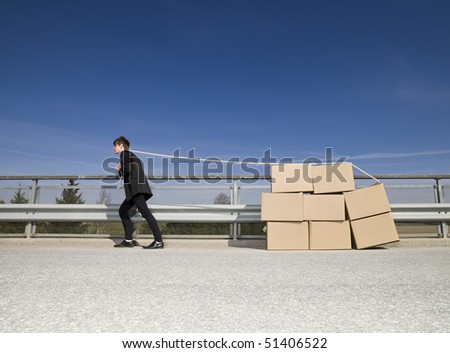 Man with Moving Boxes outdoor