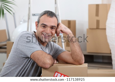 Man with moving cartons