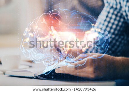 Man with multi exposure atificial intelligence brain icons. #1418993426