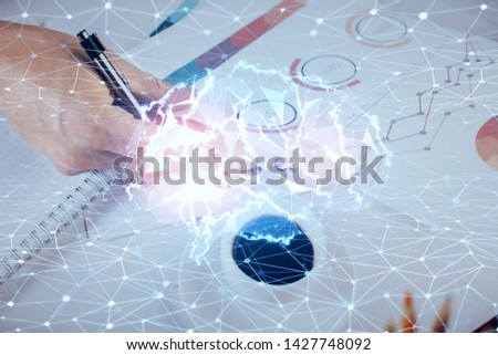 Man with multi exposure atificial intelligence brain icons. #1427748092