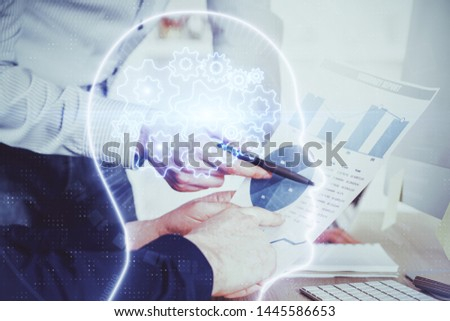 Man with multi exposure atificial intelligence brain icons. #1445586653