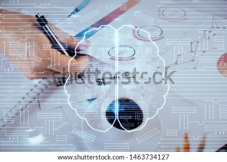 Man with multi exposure atificial intelligence brain icons. #1463734127