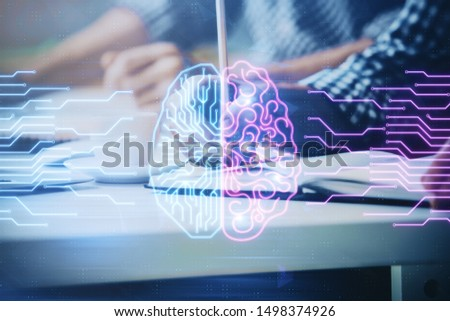 Man with multi exposure atificial intelligence brain icons. #1498374926