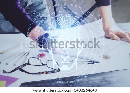 Man with multi exposure brain theme icons. #1403264648
