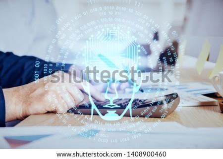Man with multi exposure brain theme icons. #1408900460