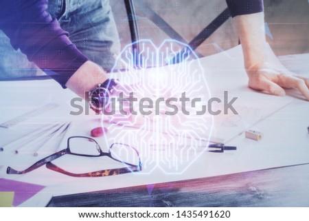 Man with multi exposure brain theme icons. #1435491620
