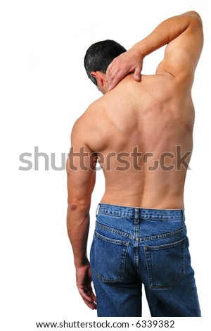 Man with naked torso isolated on a white background