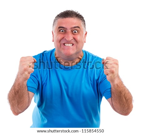 Man with nervous crisis isolated on white background