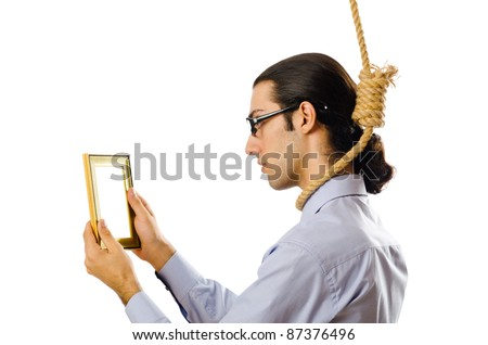 Man with noose around his neck - stock photo
