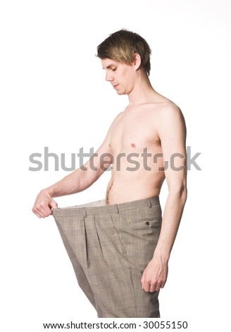 Man with over-sized trousers