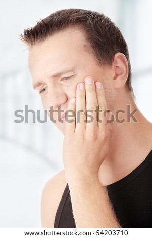 Man with pain expression