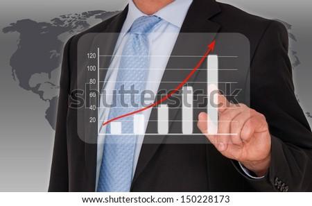 Man with performance uptake chart