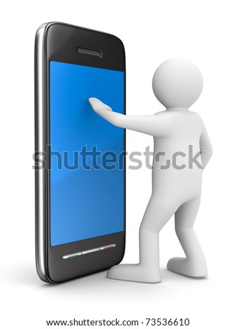 man with phone on white. Isolated 3D image