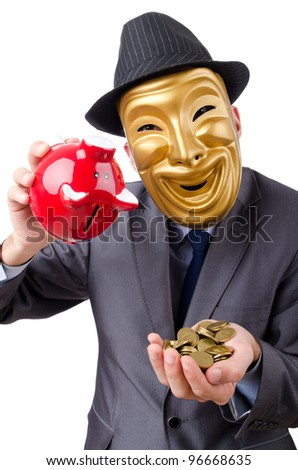 Man with piggybank on white