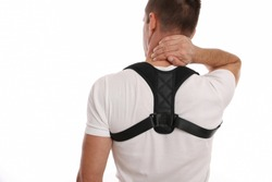 Man with posture corrector. Scoliosis, Kyphosis treatment