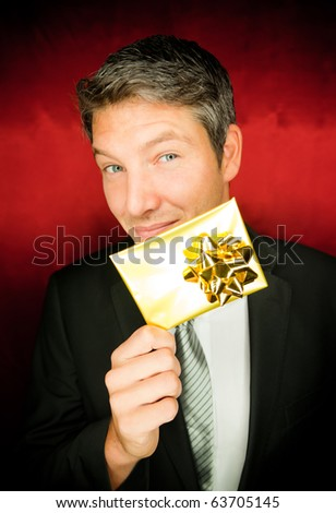 man with present gift in hand
