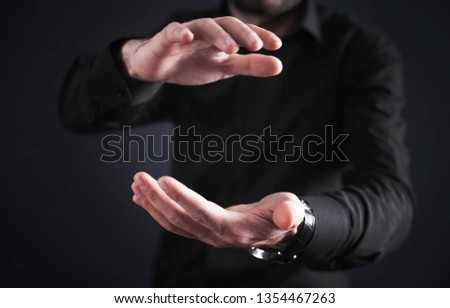 Man with protecting hands. Protecting gesture #1354467263