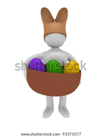 Man with rabbit hat and Easter eggs, 3D image