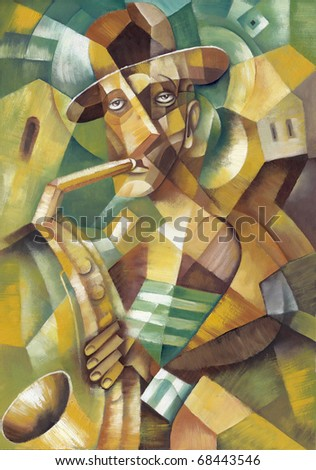 Man with saxophone - stock photo
