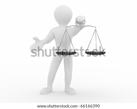 Man with scale. Symbol of justice. 3d