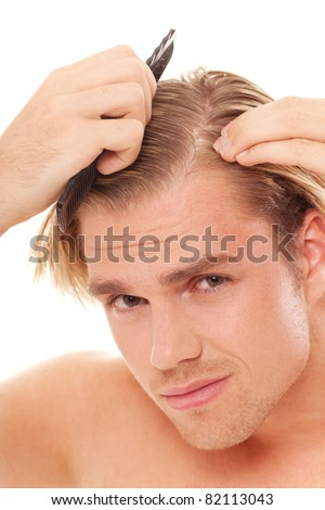 man with scrubber