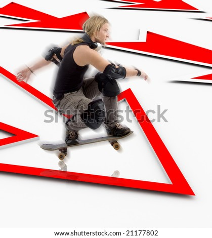 man with skateboard jumping over three dimensional arrow