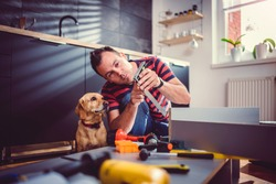 Man with small yellow dog working on a new kitchen installation and looking at angle ruler