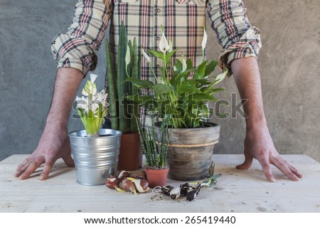 Man with some plants and flowers in a table