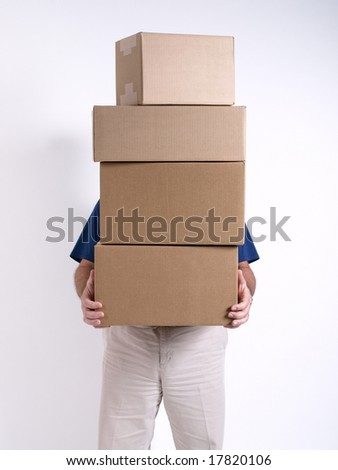 Man with 4 stacked Boxes