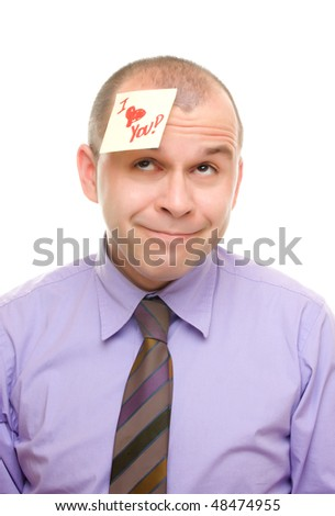 Man with sticky note isolated on white