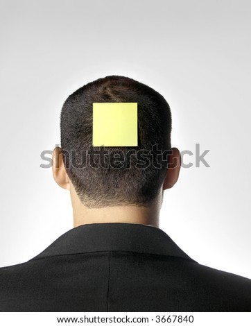 Man With Sticky notes in the back of his head