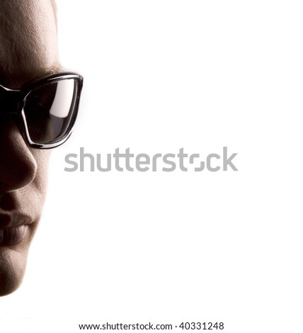 Man with sunglasses with white space for text