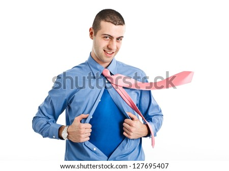Man with superhero suit under his shirt