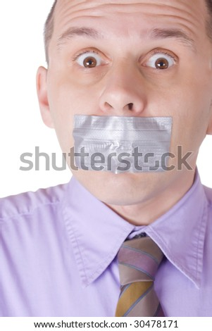 Man with taped mouth isolated on white background