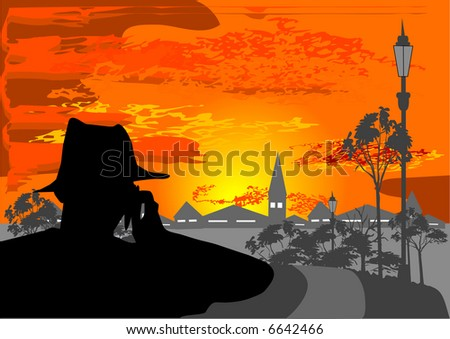 man with telephone looking in the city illustration