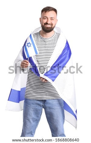 Man with the flag of Israel on white background Stok fotoğraf ©