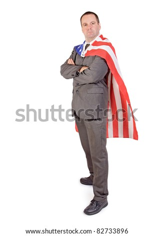 Man with the flag of the United States of America
