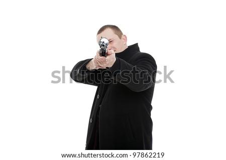 Man with the gun facing