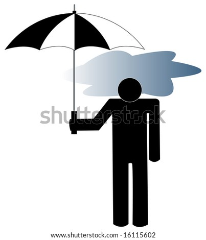 man with the storm cloud under his umbrella - depression