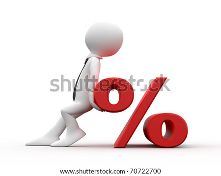 Man with the symbol of the percentage