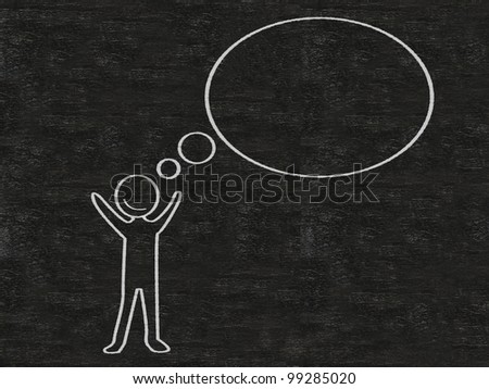 man with think bubble blank written on blackboard background, high resolution